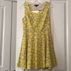 Yellow and grey fit and flare dress